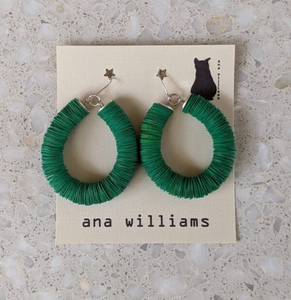 "Vibrant ""Cordial Green"" Paper Reel Hoop Earrings by Ana Williams"