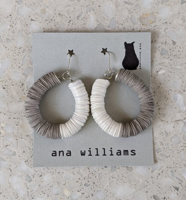 "Classic ""Cumulus"" Paper Reel Hoop Earrings - Grey and White by Ana Williams"