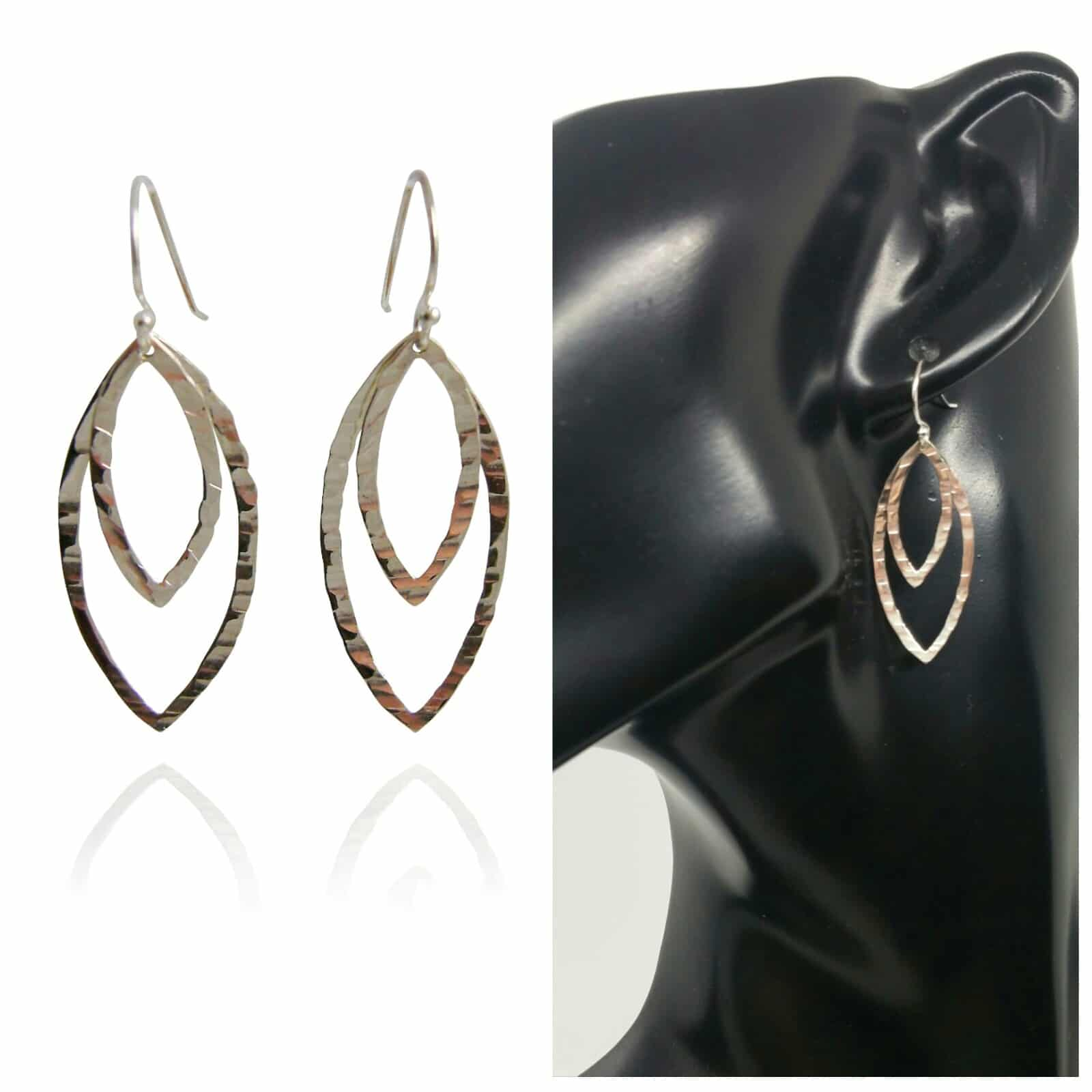 Silver Double Marquise Drop Earrings – Hammered.  By Sterling Silver 925
