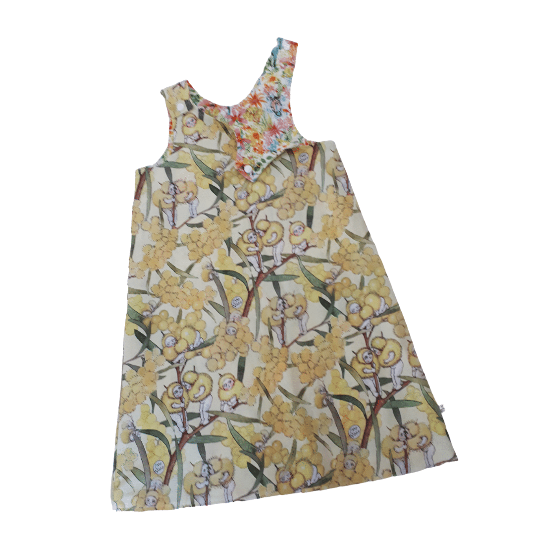 Children's Size 5 Reversible Pinafore Dress – Yellow Blossom Babies / Animal Faces By St David Studio 3065