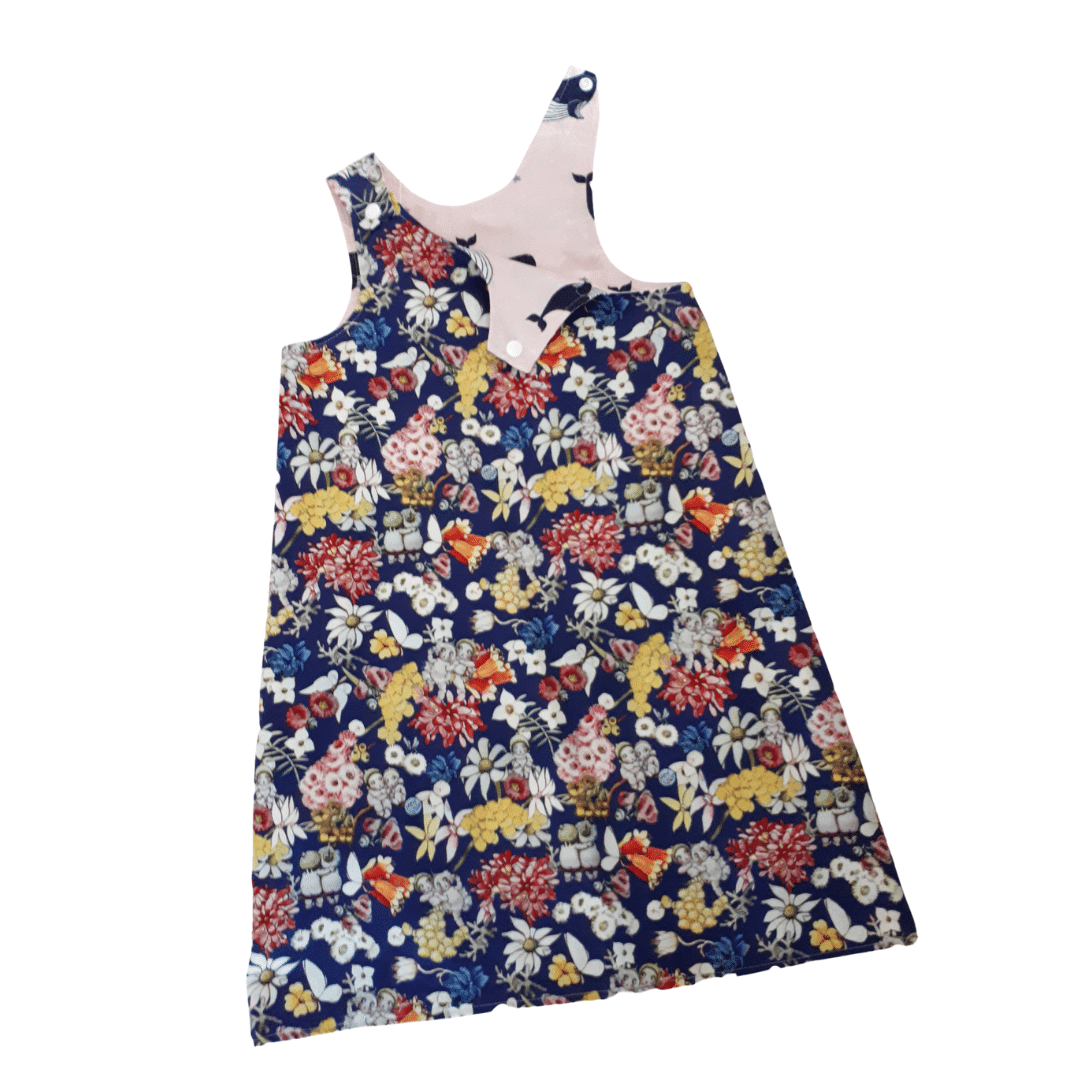 Children's Size 5 Reversible Pinafore Dress – Blue Gumnut Babies / Pink Whales By St David Studio 3065