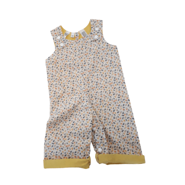 Children's size 00 Overalls white with orange and yellow rose buds by St David Studio 3065