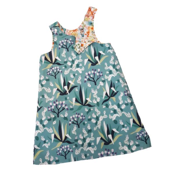 Children's size 4 Reversible Pinafore dress - Green Cactus / floral animals by St David Studio 3065 kids