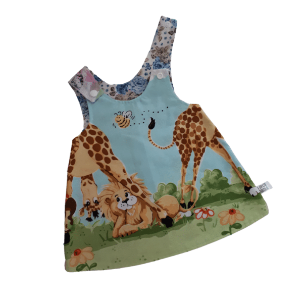 Children's Size 000 Reversible Pinafore dress - Giraffe border / Blue roses by St David Studio 3065 kids