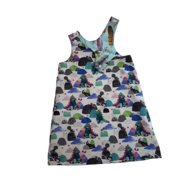 Children's size 3 Reversible Pinafore dress - Dinosaur glitter / Blue feathers by St David Studio 3065 kids