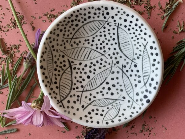 leaves and seeds porcelain bowl by the intrepid potter