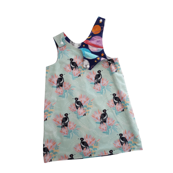 Children's size 3 Reversible Pinafore Dress - Magpies / Planets by St David Studio 3065 kids