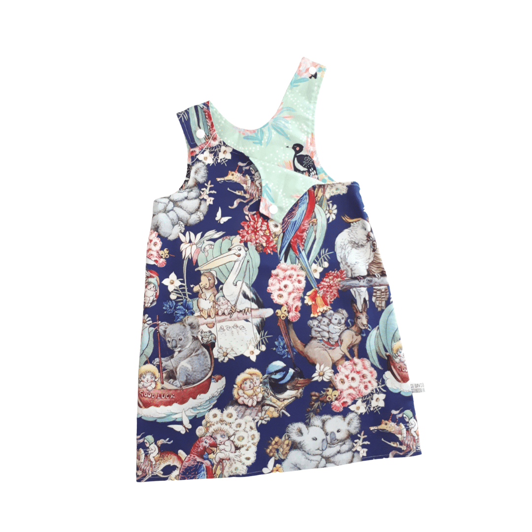 Children's Size 2 Reversible Pinafore Dress – Magpies On Mint / May 's Blue Adventures By St David Studio 3065 Kids