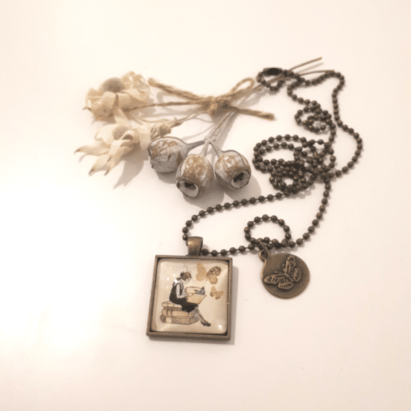 Alice Necklace with long antique bronze ball chain by Wishpom