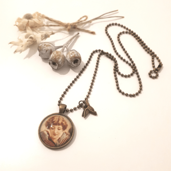Flower Girl necklace - long antique bronze ball chain by Wishpom