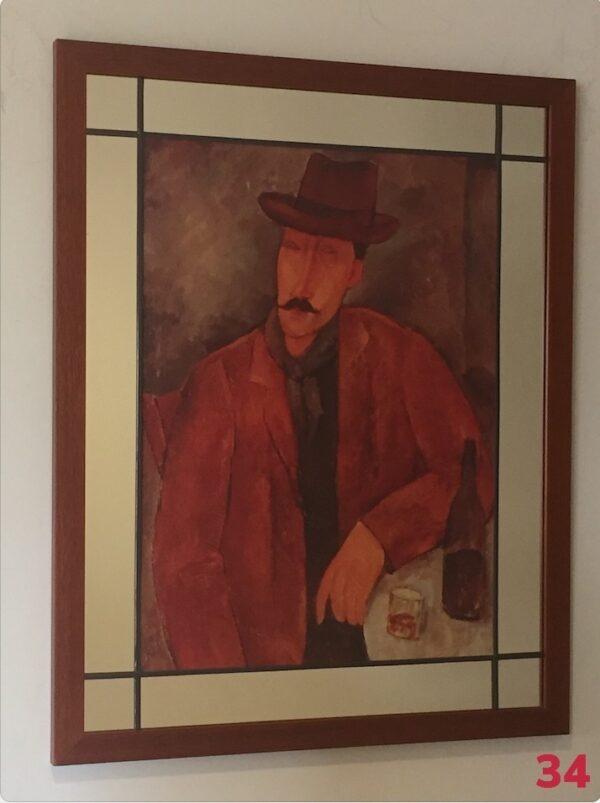 Mirror, lead and wood frame by Gasey Baffsky with Modigliani Print by i frame u hang