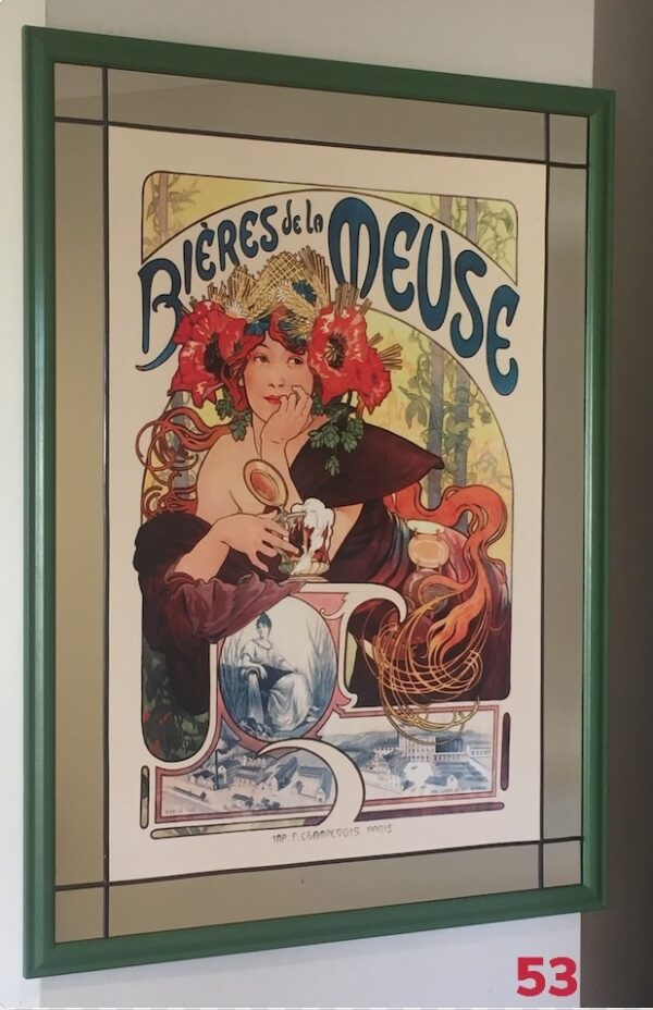 Mirror, lead and wood frame by Gasey Baffsky with Bieres de la Meuse Mucha Print by i frame u hang