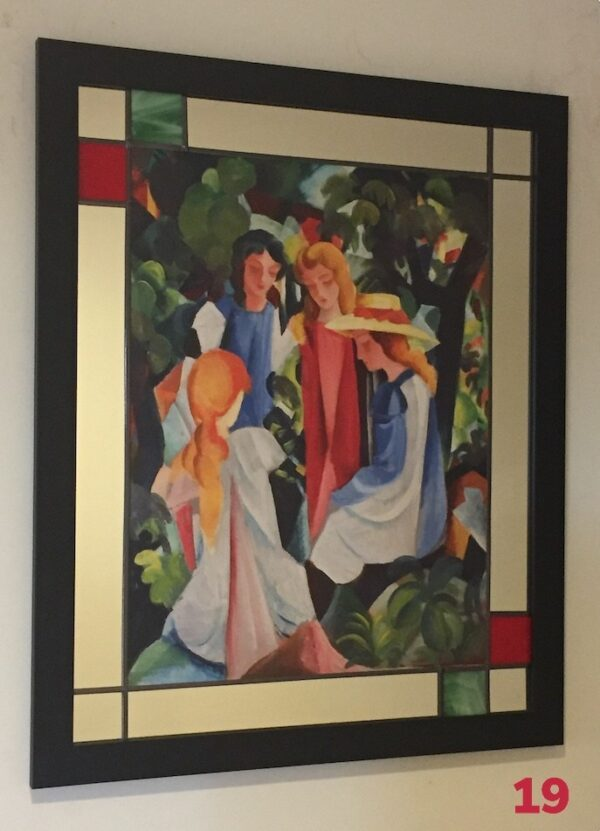 Mirror, lead and wood frame by Gasey Baffsky with Auguste Macke Print by i frame u hang