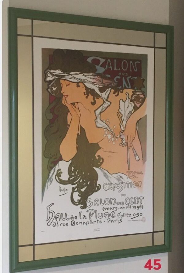 Mirror, lead and wood frame by Gasey Baffsky with Salons de CentsMucha Print by i frame u hang