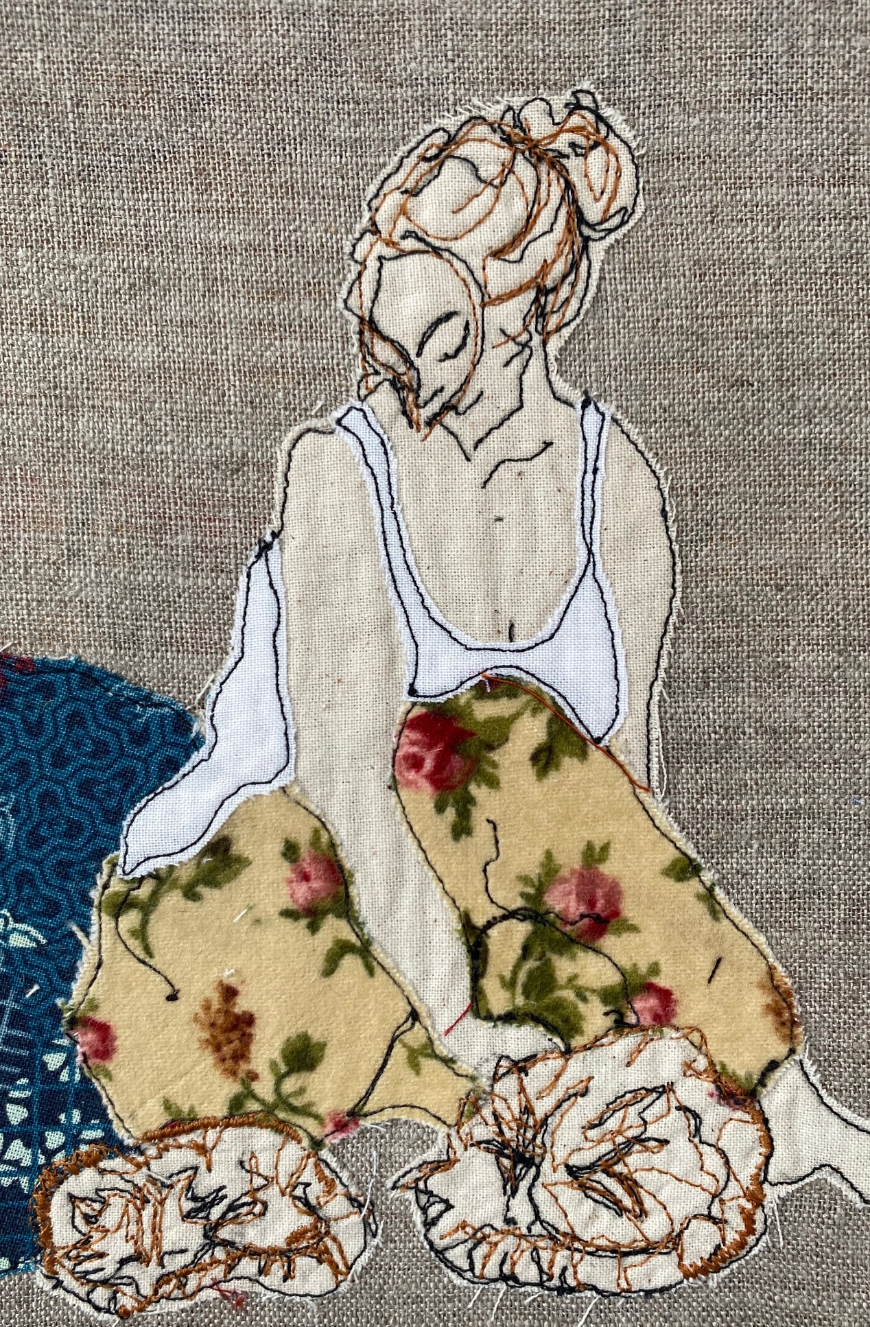 Cat Lover Embroidered Textile Artwork By  Juliet D Collins (Fitzroy)