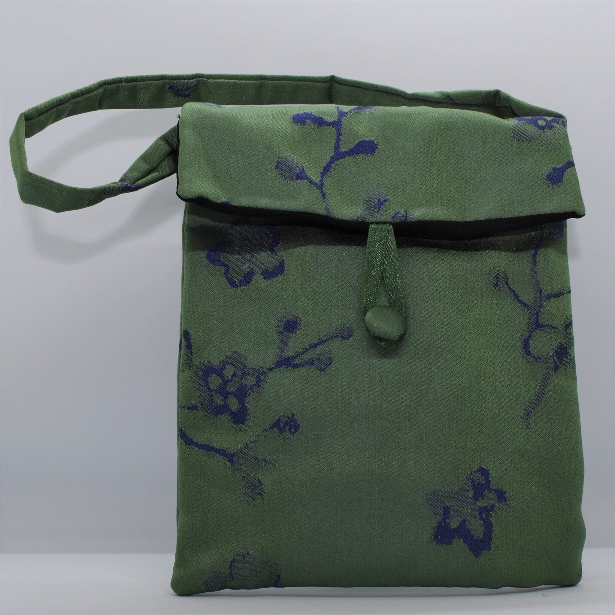 Green Floral Silk Bag By Helen Macqueen Textile Art