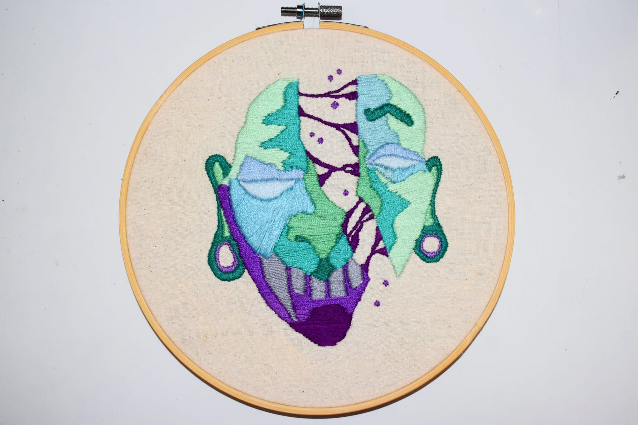 Surreal Split Mask And Face (hand Stitched Embroidery Original Art) By Georgiarubyp