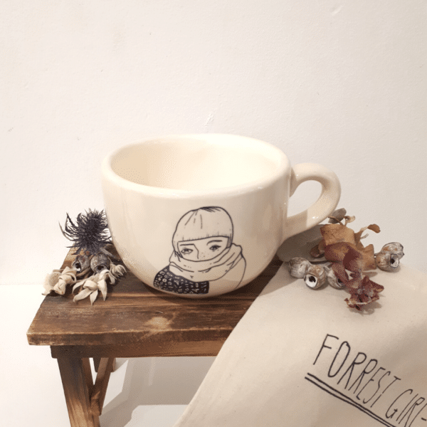 Ceramic large soup mug with handle and winter girl painting by Forrest Girl