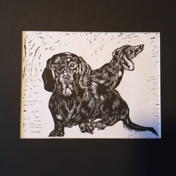 bailey-amp-grace-black-amp-white-dachshund-lino-print-by-Kaz