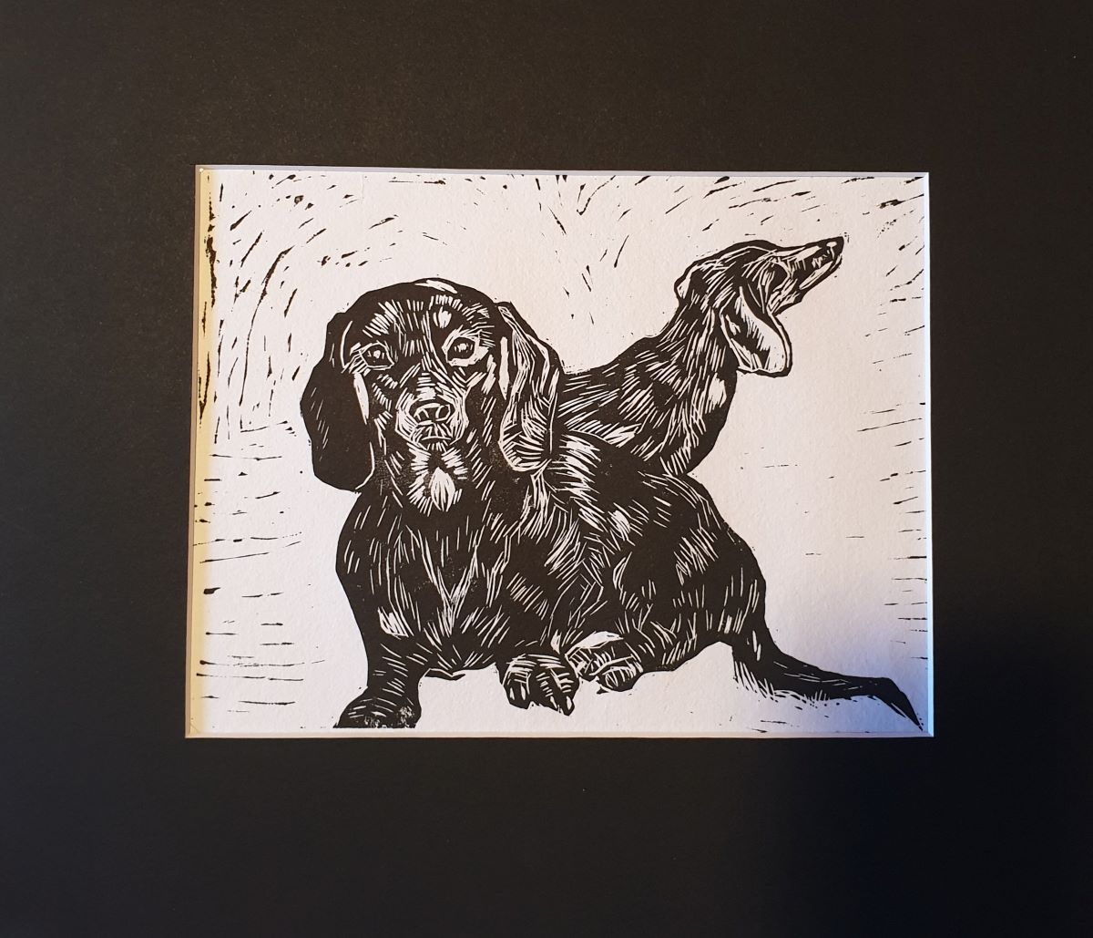'Bailey & Grace' Black & White Dachshund Lino Print By Wonga Press