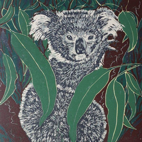 few-needs-small-6-colour-original-koala-lino-print-by-wonga-press-by-Kaz