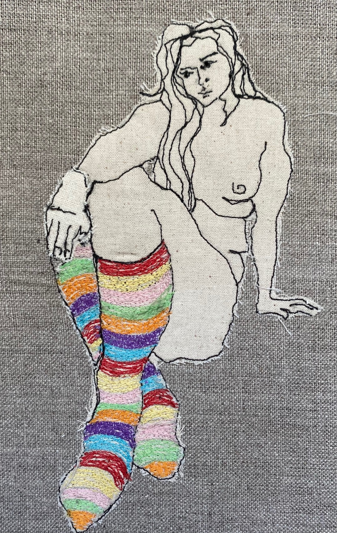 Ms Stripey Socks III Embroidered Textile Artwork By  Juliet D Collins (Fitzroy)