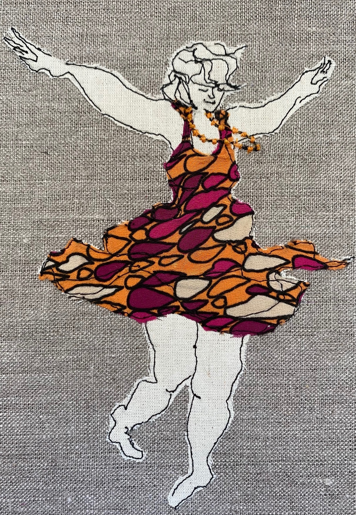 Dancing Queen Embroidered Textile Artwork By  Juliet D Collins (Fitzroy)