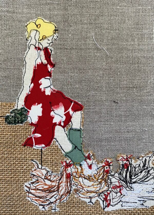 mistress-of-the-chickens-pastels-embroidered-textile-artwork-by-juliet-d-collins-fitzroy-by-julietdcollins