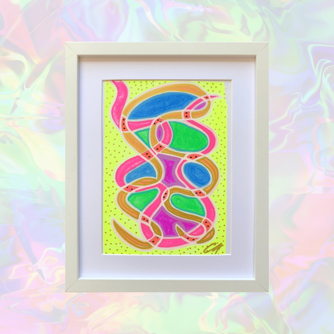 "Original Abstract Art By Claire Monique ""Neu Squiggle #4"" A5"