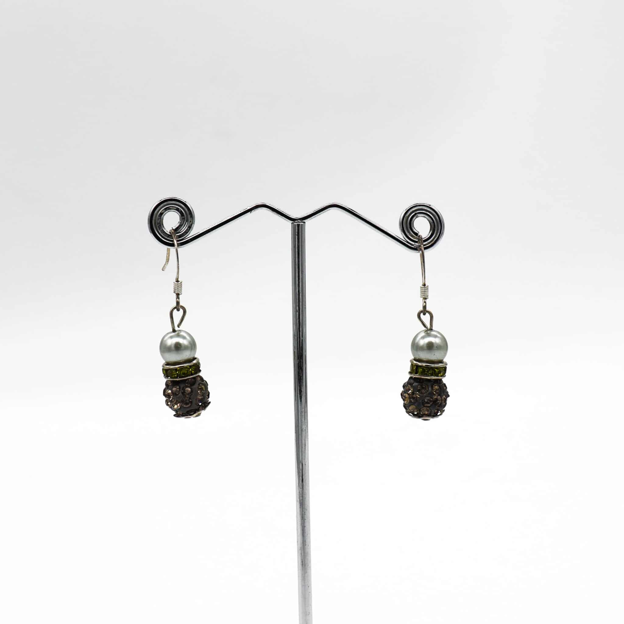 Charcoal Grey Pearl With Diamantè Encrusted Sparkle Earrings By BJewel*Co