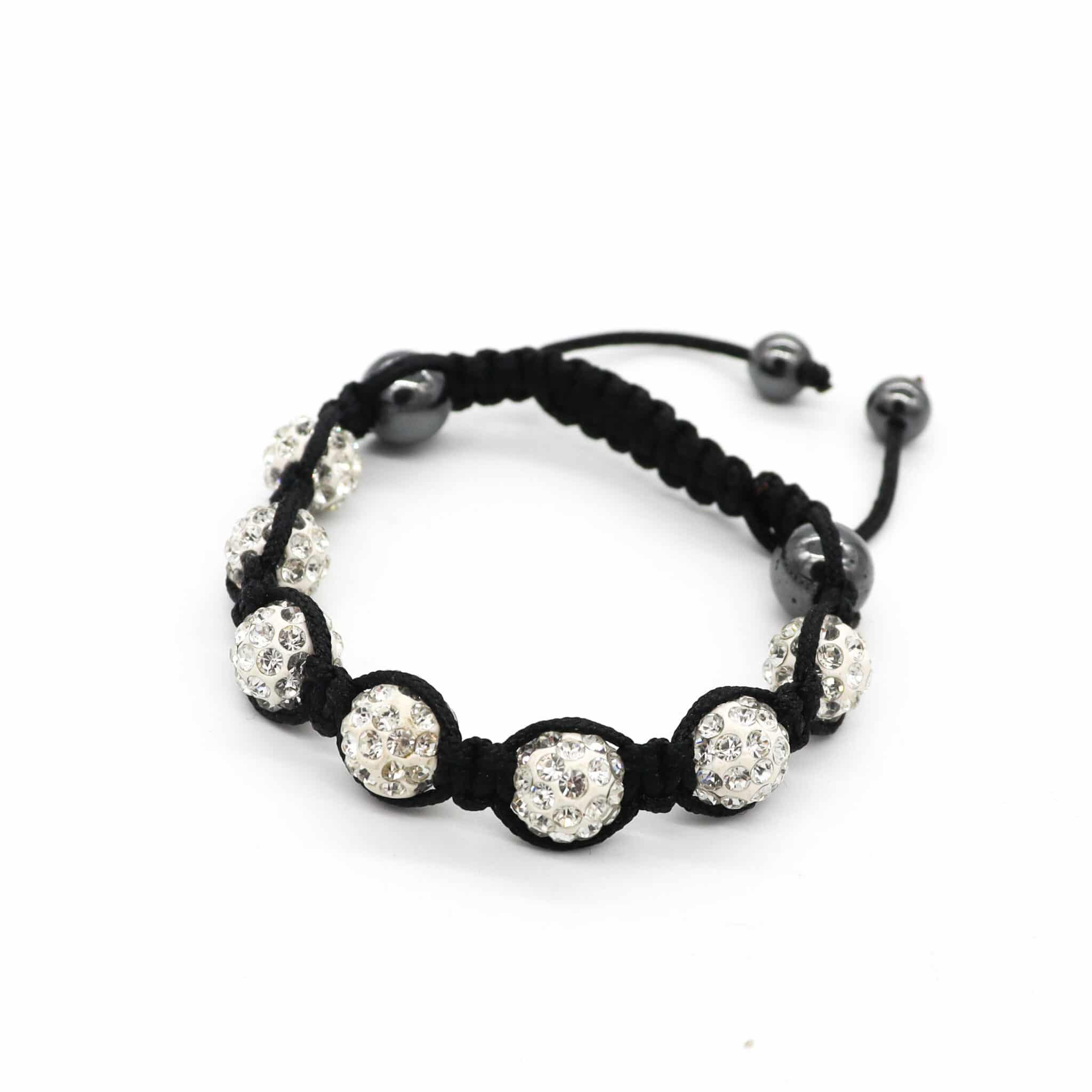 Striking White Beads With Silver Encrusted Diamantes Adjustable Bracelet  By BJewel*Co