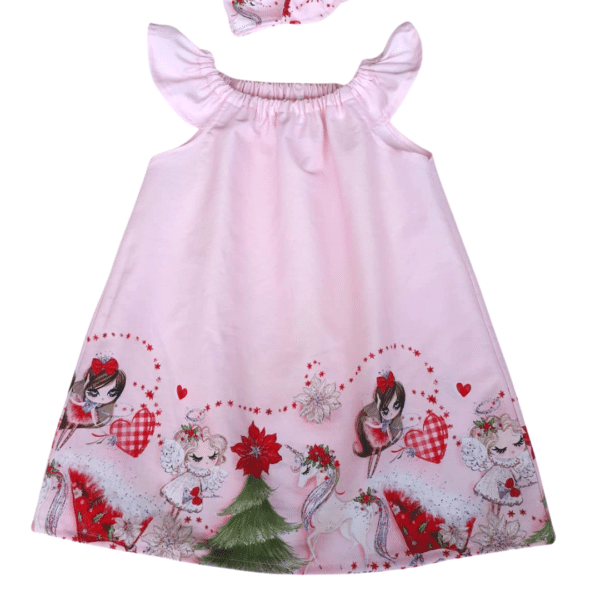 Baby Dress - soft pink with a gorgeous Christmas border scene of Fairy, Angel, Unicorn and tree Flutter dress Size 1 by St David Studio 3065 Kids