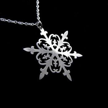silver snowflake necklace by skadi jewellery design