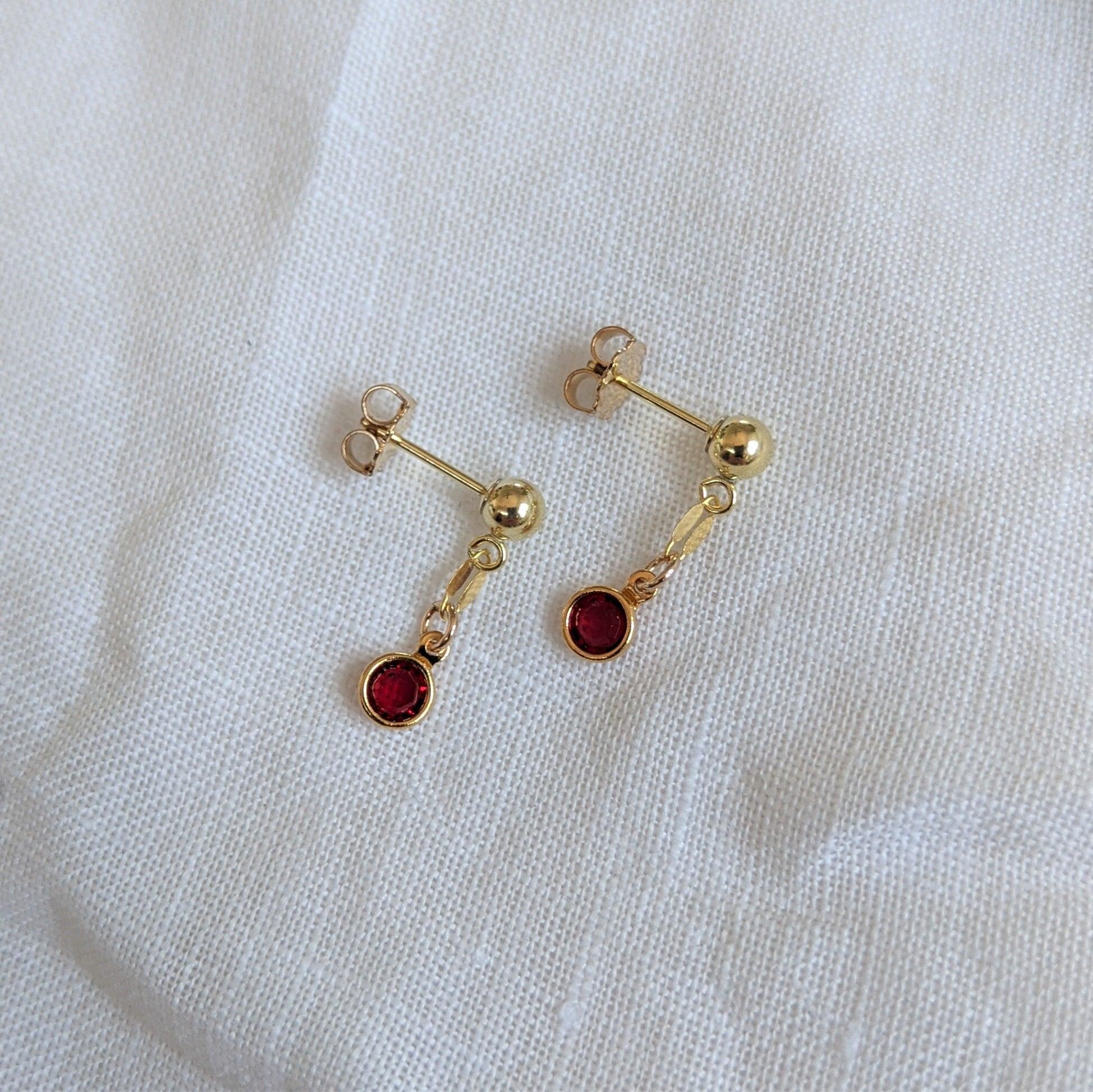 Gem Drop Earrings Siam In 14k Gold Filled By Little Hangings