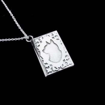 silver cat book locket by skadi jewellery design