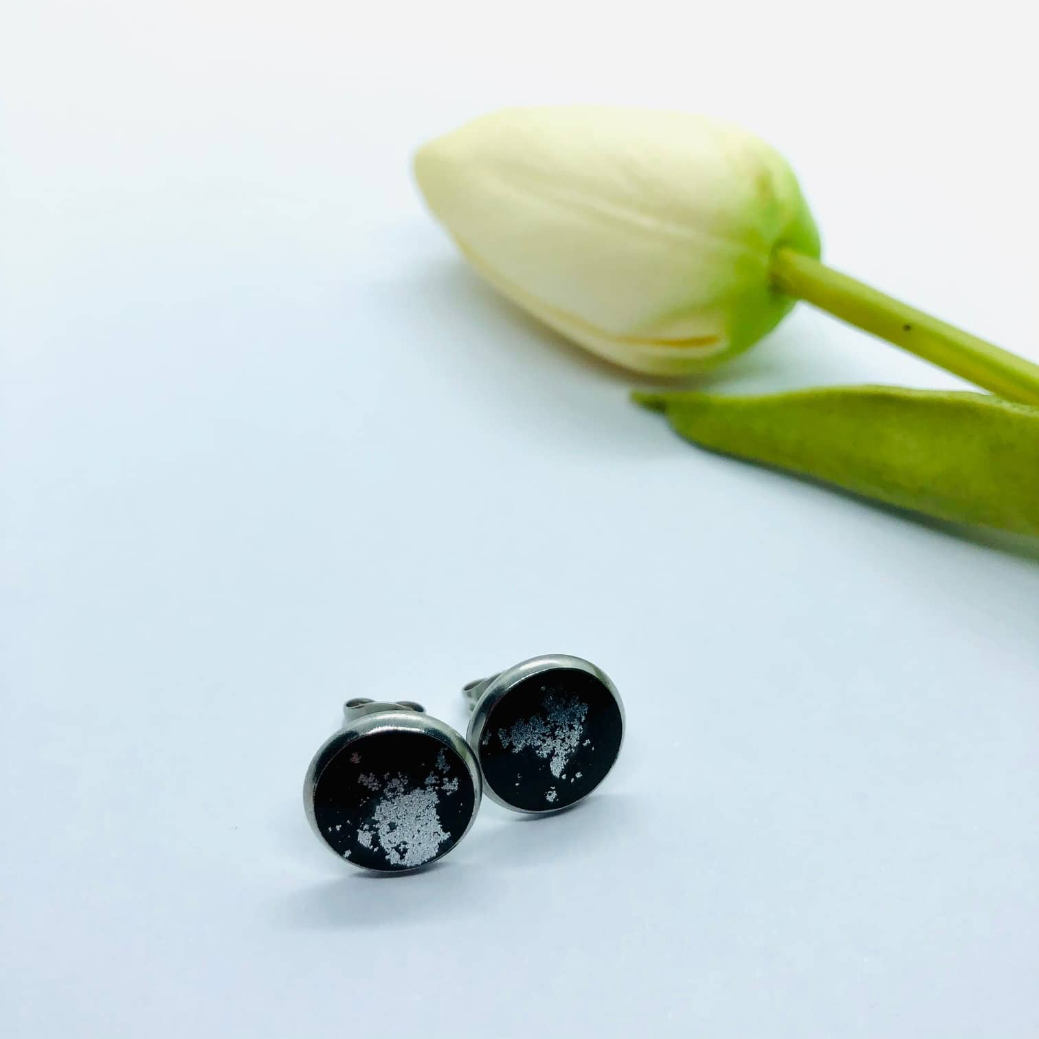 Black Stud Earrings – 12mm Round – By Jantina