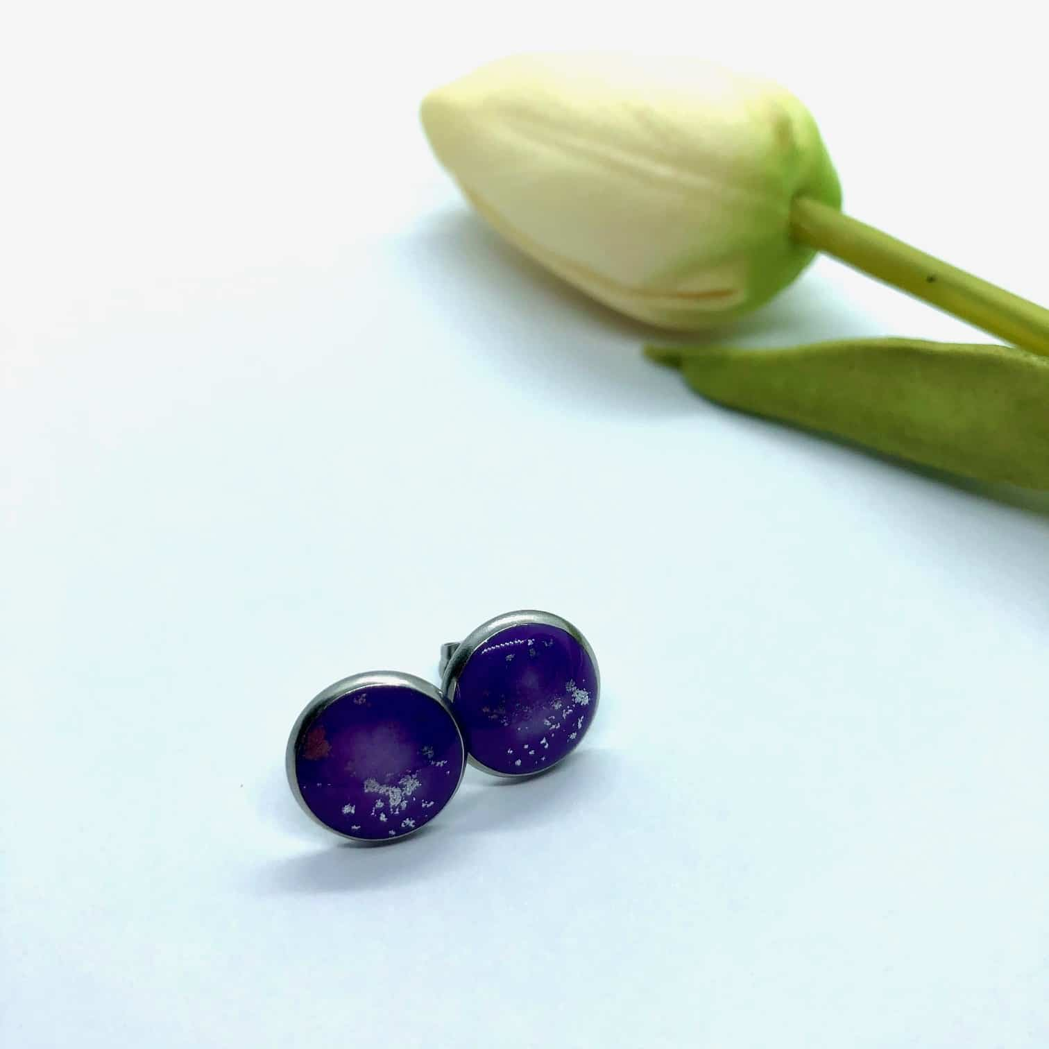 Purple Stud Earrings – 12mm Round – By Jantina