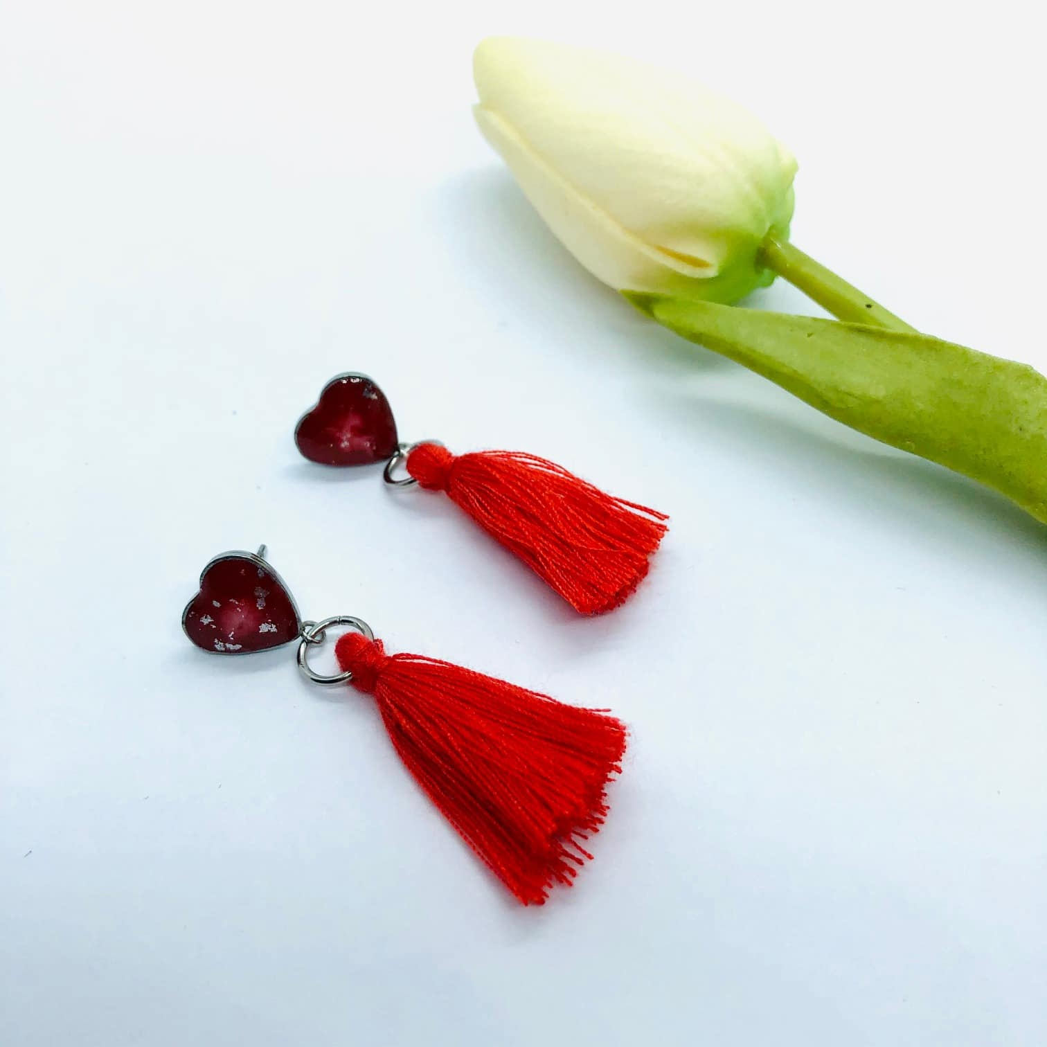 Red Heart Earrings With Cotton Tassel– By Jantina