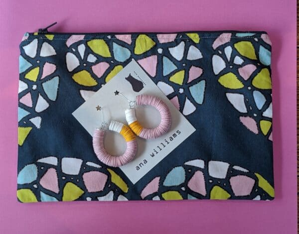 Handy Zippered Pouch in Colourful Kaleidoscope Print by Ana Williams