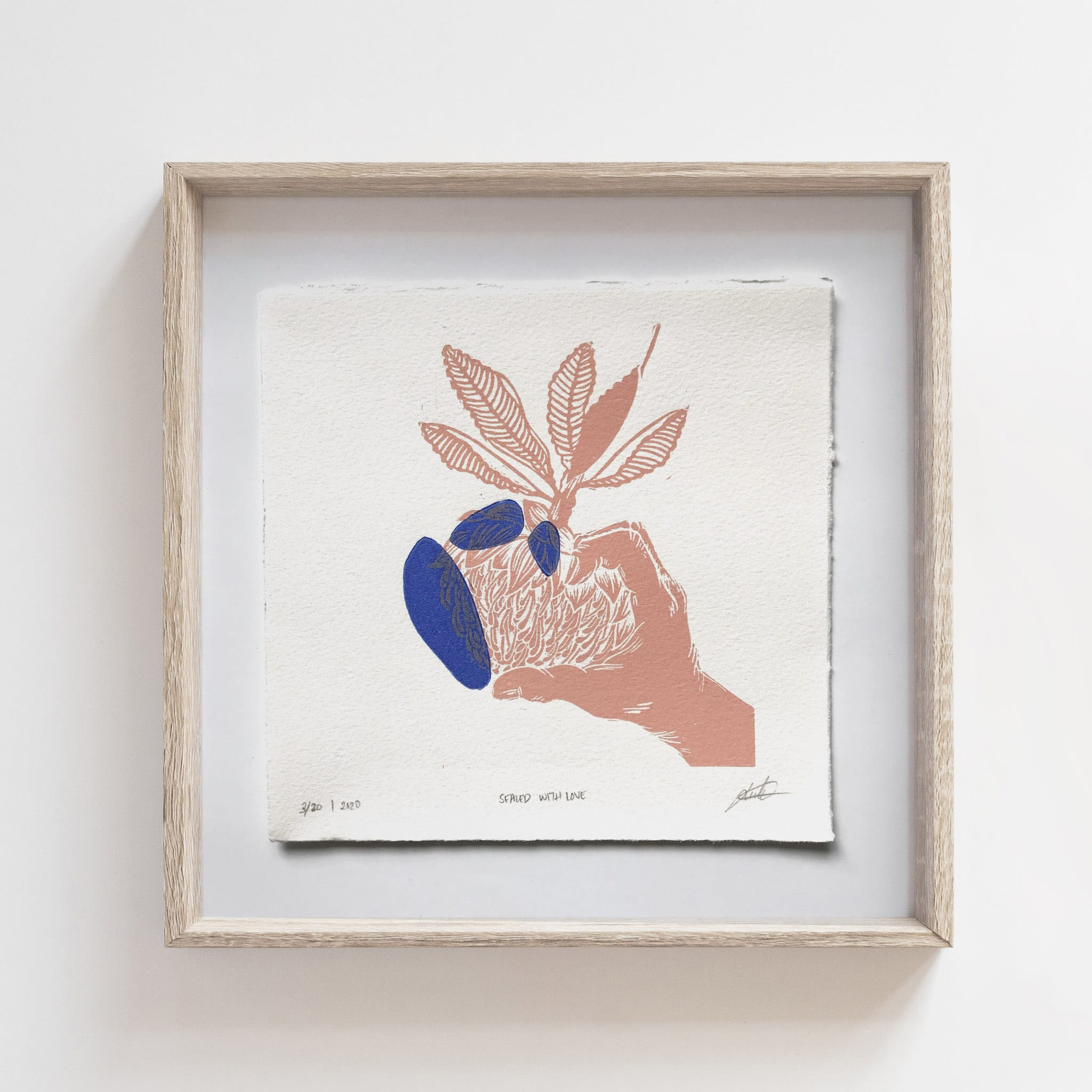 Limited Edition Linoprint 'Hands Series: Sealed With Love' – By Jocelin Meredith Artwork