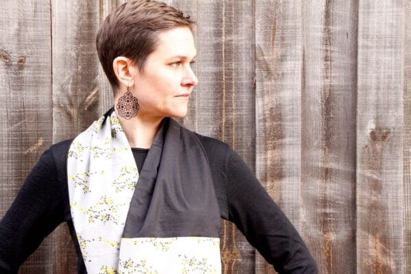 Stylish Infinity Scarf with Bold Seaweed Print by Ana Williams