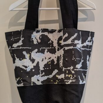 Spacious Reversible Canvas Tote Bag - Black Patterned Linen by Ana Williams