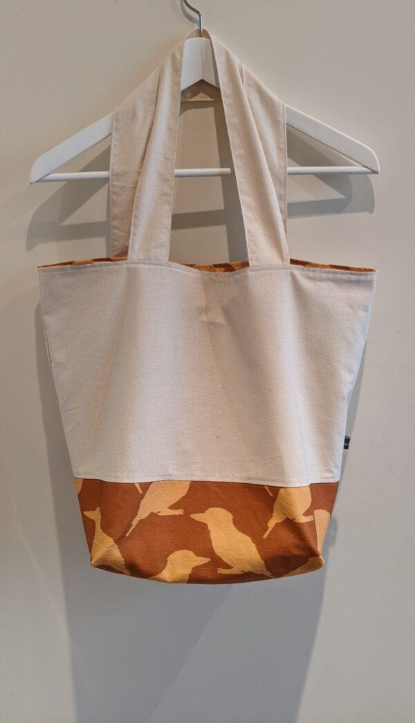 Practical Reversible Kookaburra Linen Tote Bag - Tan and Yellow by Ana Williams