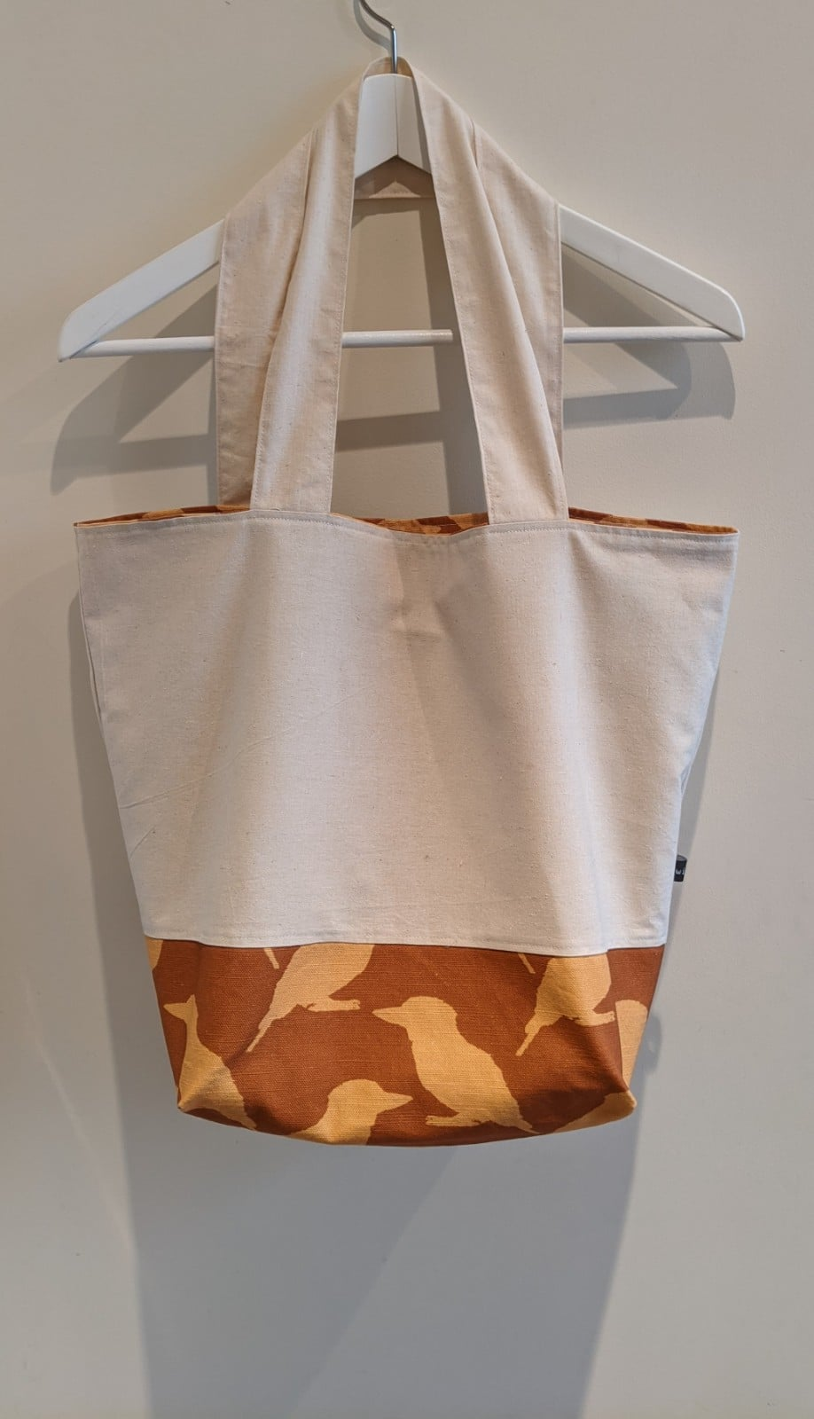 Practical Reversible Kookaburra Linen Tote Bag – Tan And Yellow By Ana Williams