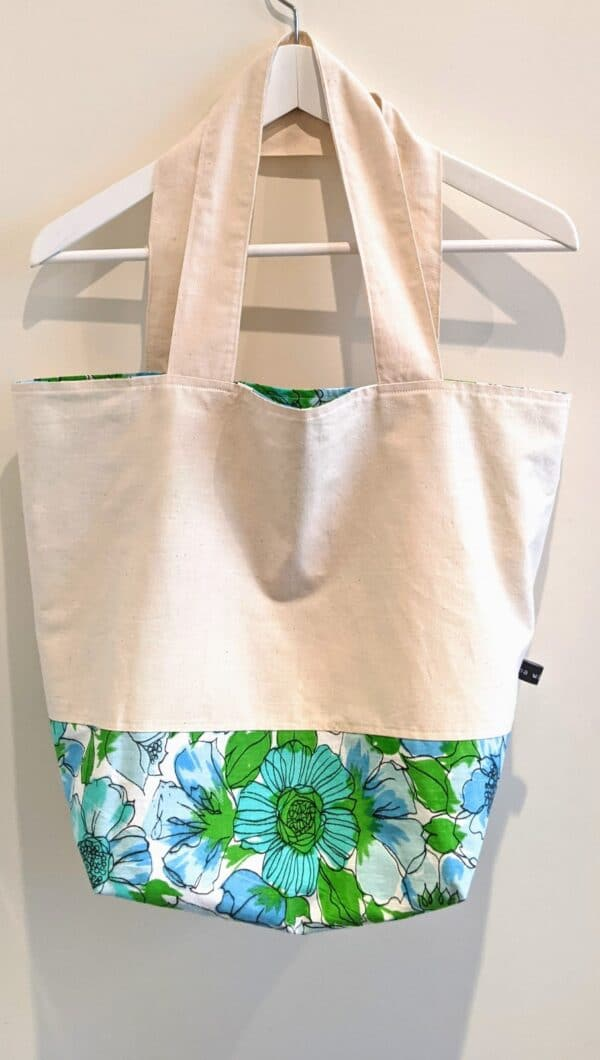Roomy Reversible Tote Bag - Vintage Blue Green Floral Pattern by Ana Williams