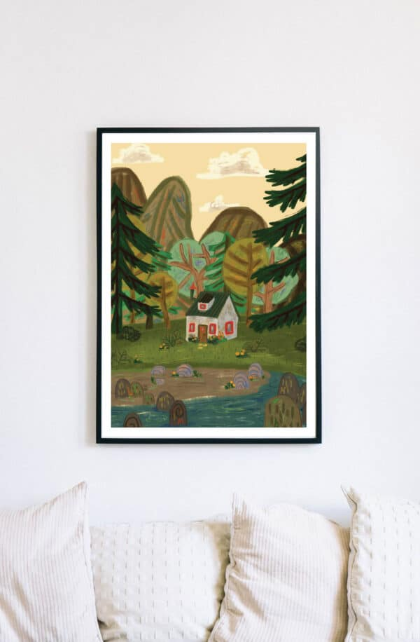 a4-giclee-fine-art-print-house-by-the-lake-kell-kitsch-by-kellkitsch