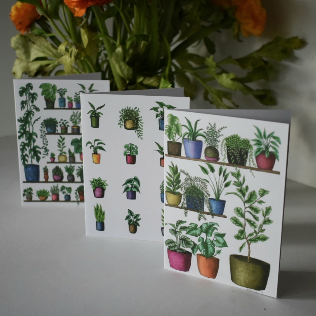 'Plant Shelfie' Three Card Pack Greeting Cards Botanical Collection Sarah Sheldon Art By A Vibrant Nest