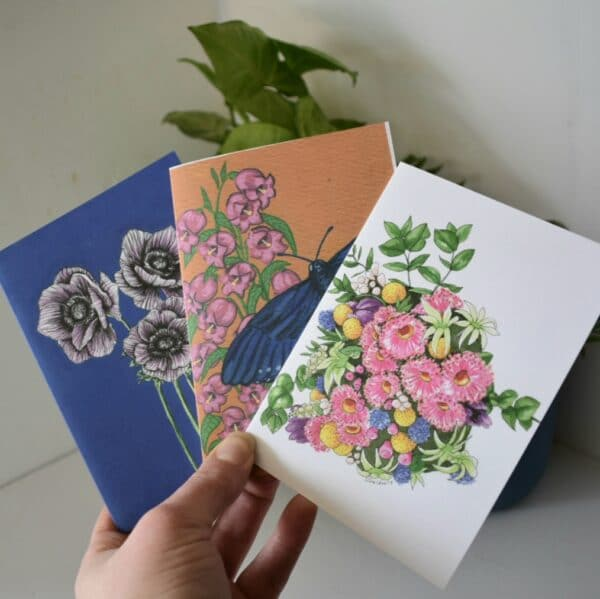 flowers-three-card-pack-greeting-cards-botanical-collection-sarah-seldon-art-by-a-vibrant-nest-by-avibrantnest