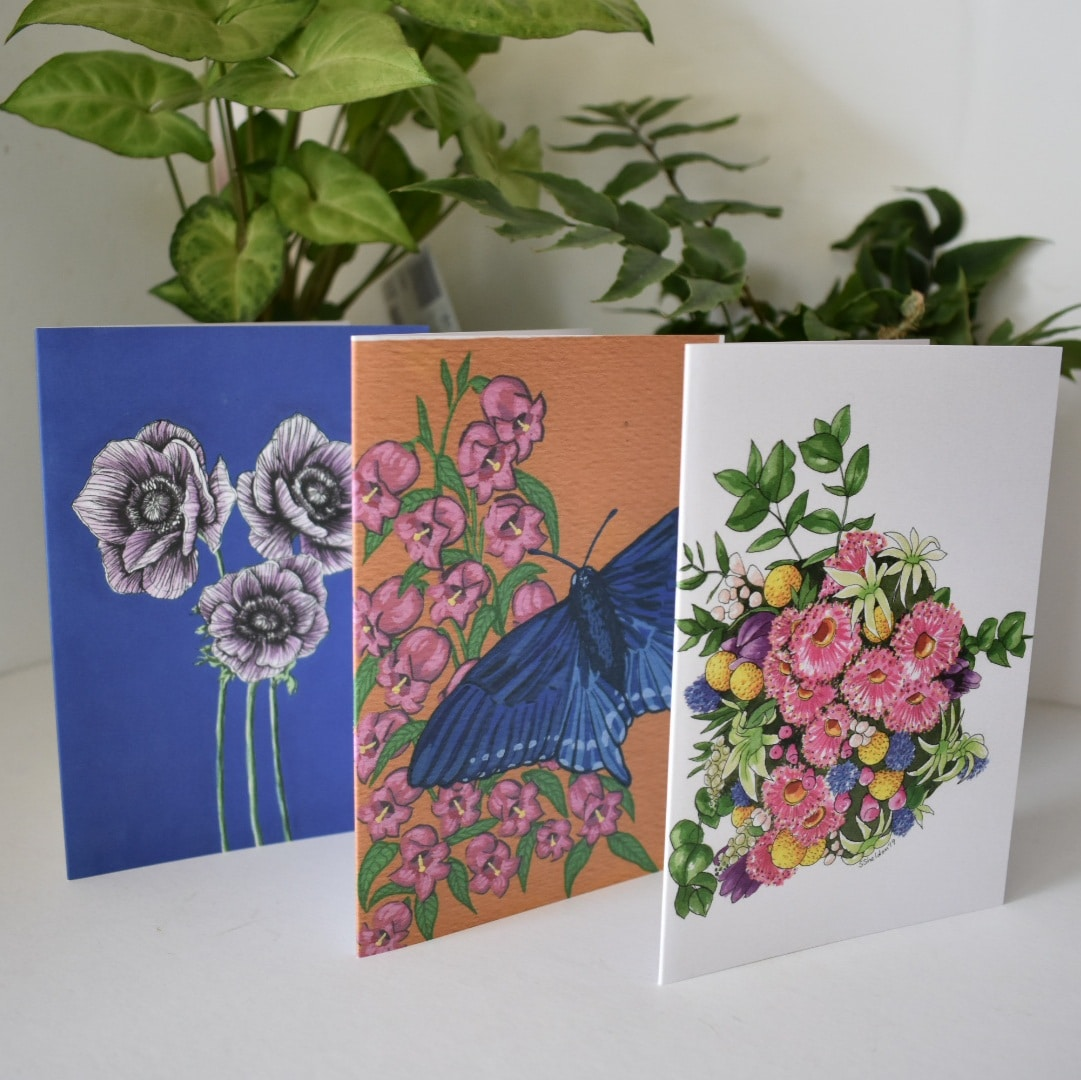 'Flowers' Three Card Pack Greeting Cards Botanical Collection Sarah Seldon Art By A Vibrant Nest