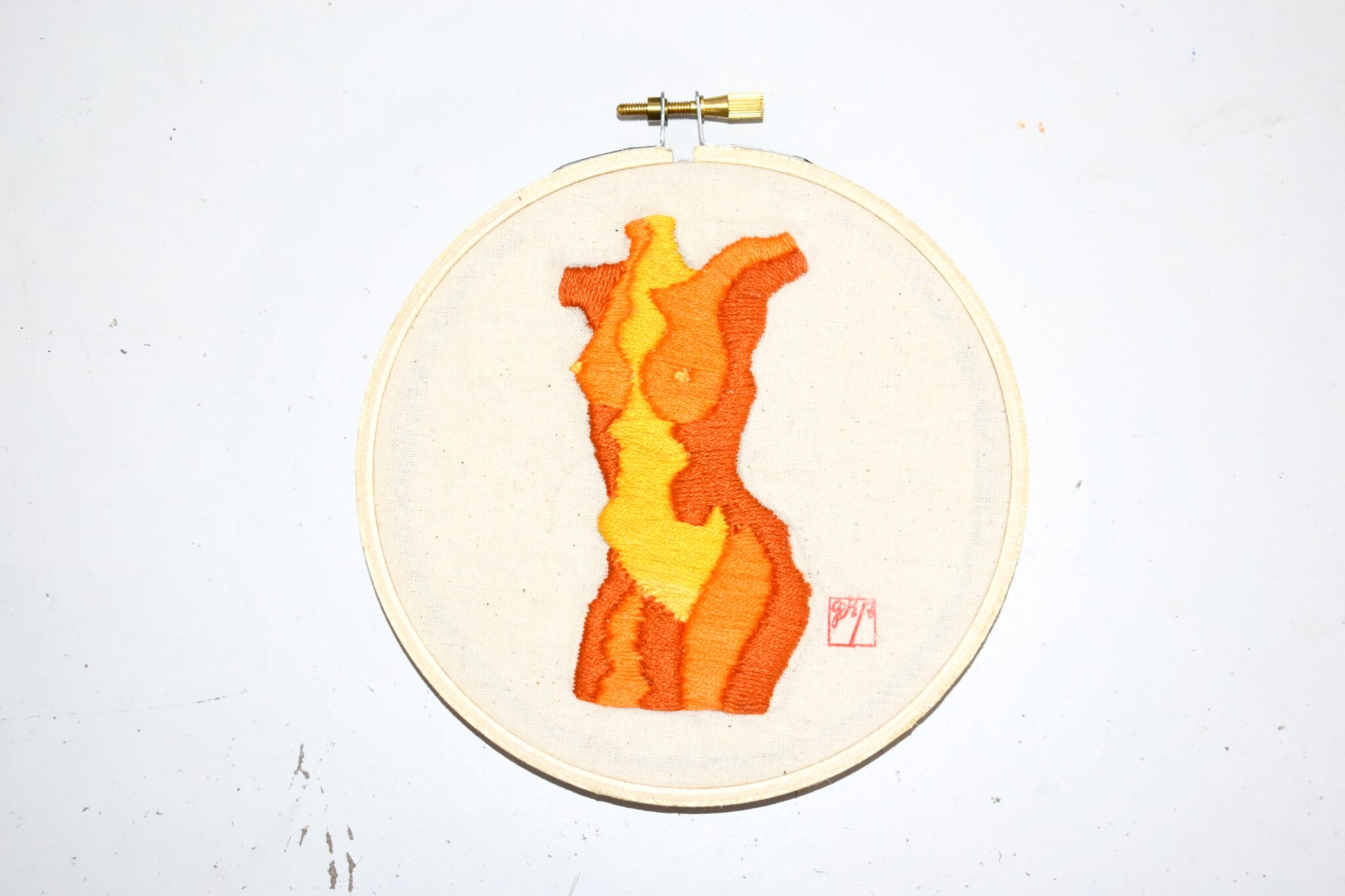 Stitching Contours – Mapping Bodies (hand Stitched Embroidery Original Art – Orange) By Georgiarubyp